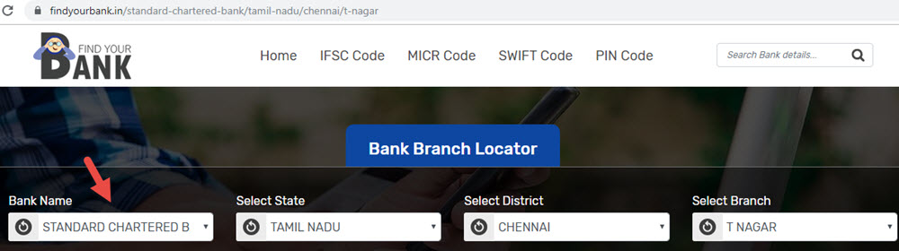 Select Standard Chartered Bank T Nagar Branch