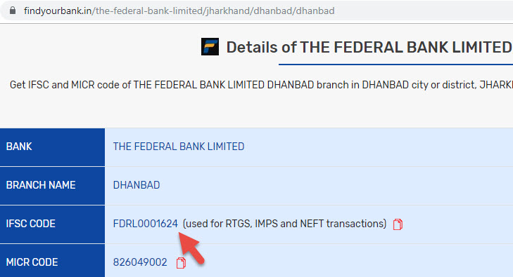 Details of The Federal Bank Limited Dhanbad Branch
