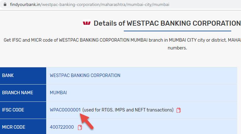 Details of Westpac Banking Corporation Mumbai Branch