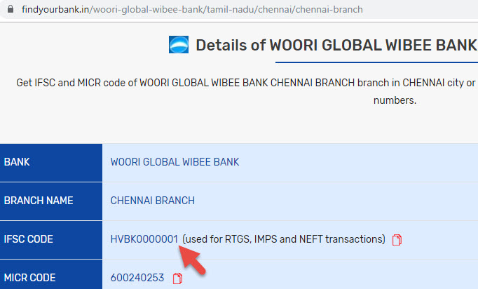 Details of Woori Global Wibee Bank