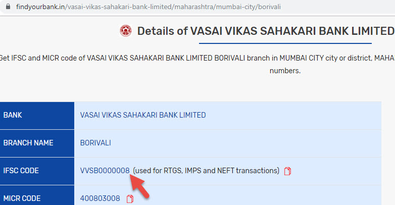 Details of Vasai Vikas Sahakari Bank Limited Borivali Branch