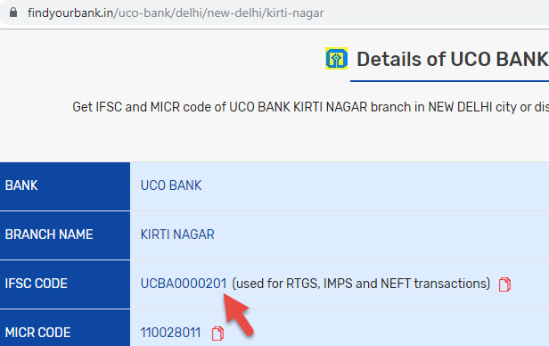 Details of UCO Bank Kirti Nagar Branch