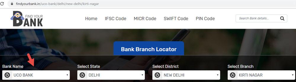 Select UCO Bank Kirti Nagar Branch