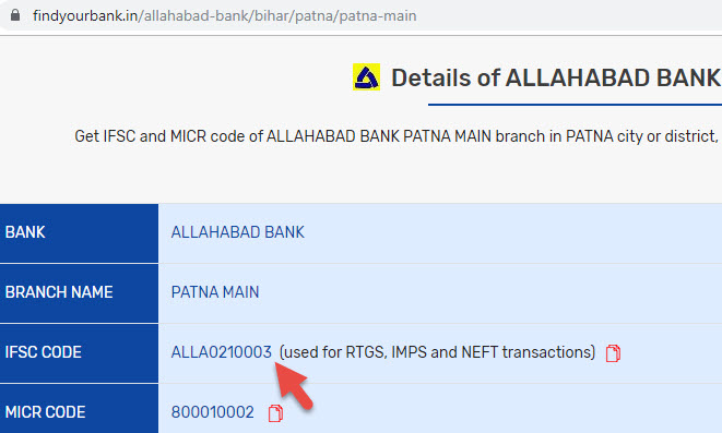 Details of Allahabad Bank Patna Main Branch