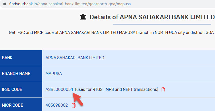 Details of Apna Sahakari Bank Limited Mapusa Branch