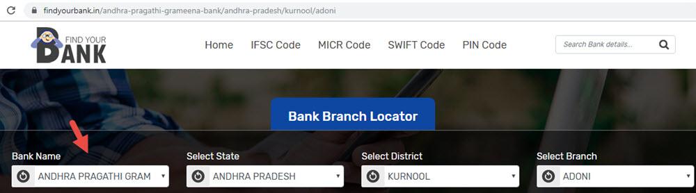 Select Andhra Pragathi Grameena Bank Adoni Branch