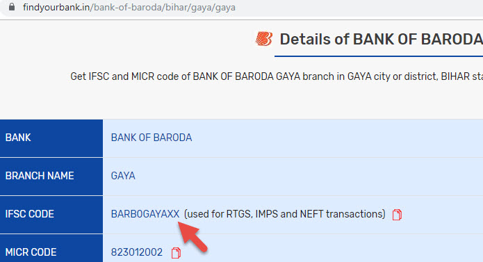 Details of Bank Of Baroda Gaya Branch