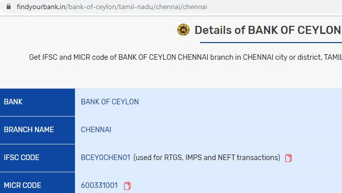 Details of Bank Of Ceylon Chennai Branch