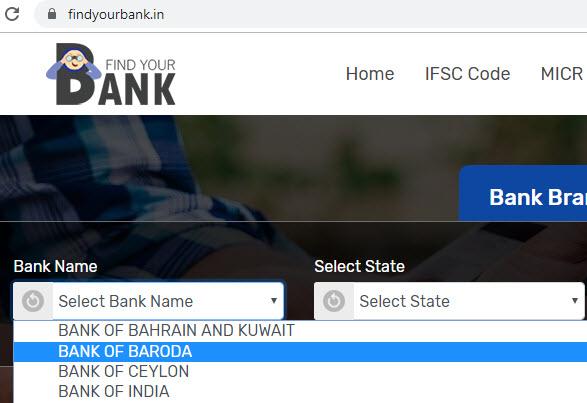 Select Bank of Baroda