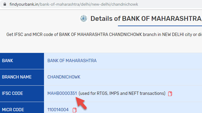 Detail of Bank Of Maharashtra Chandnichowk Branch