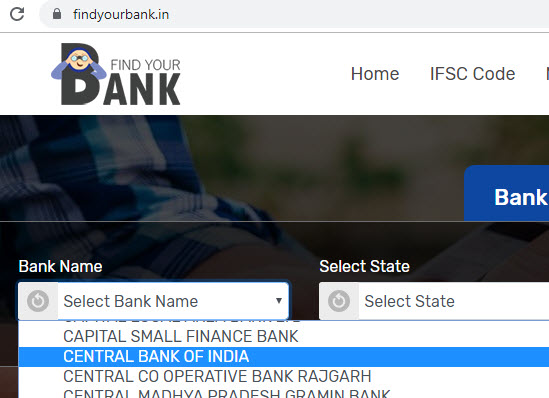 select central bank of india