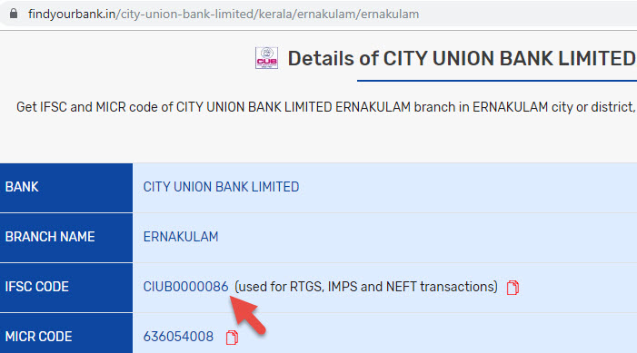 Detail of City Union Bank Limited Ernakulam Branch