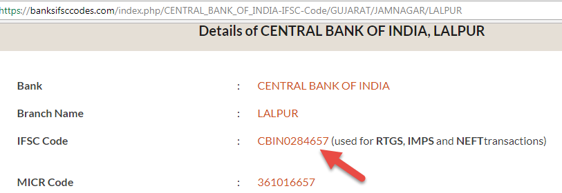 ifsc code of central bank of india lalpur branch