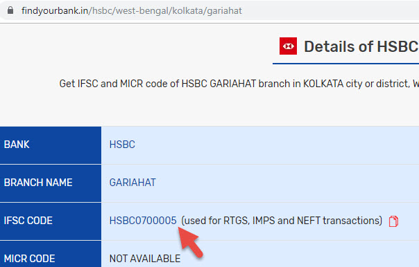 Detail of HSBC GARIAHAT branch