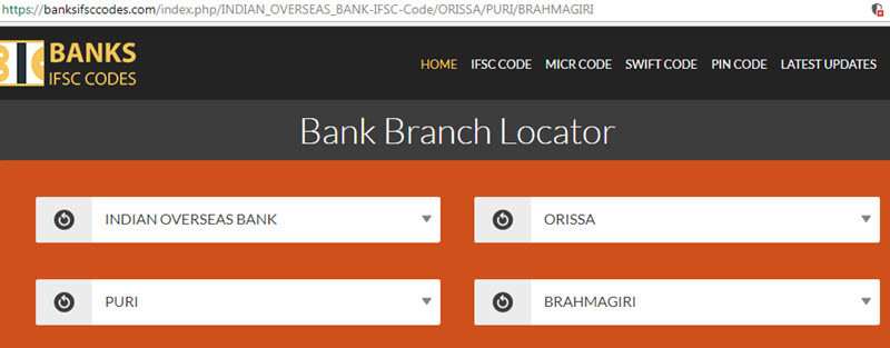 Find IFSC Code of Indian Overseas Bank Brahmagiri Branch