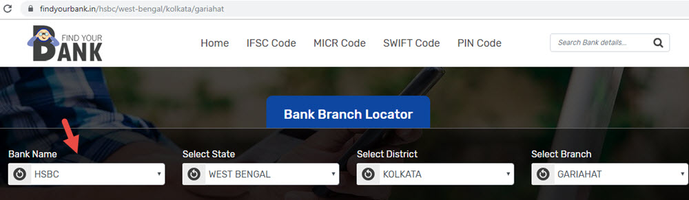 Select HSBC GARIAHAT branch