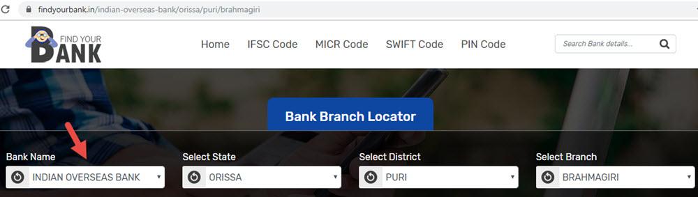Select Indian Overseas Bank Brahmagiri Branch