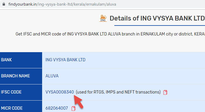 Detail of Ing Vysya Bank Ltd Aluva Branch