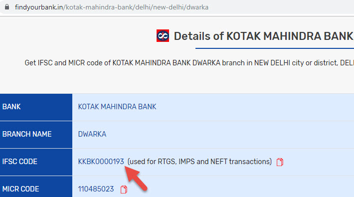 Details of Kotak Mahindra Bank Dwarka Branch