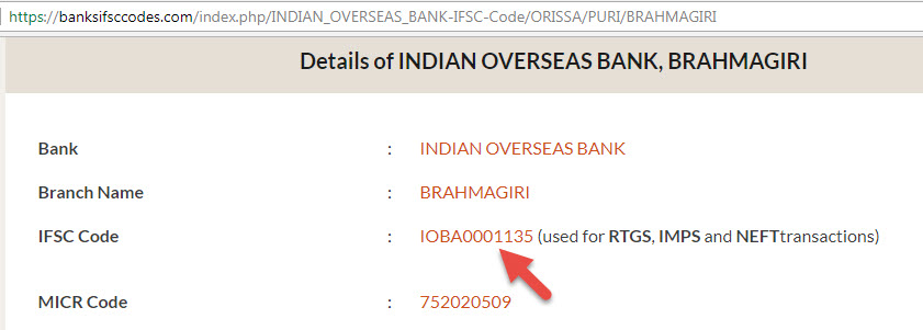 IFSC Code of Indian Overseas Bank Brahmagiri Branch