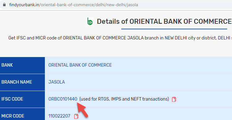 Detail of Oriental Bank Of Commerce Jasola Branch