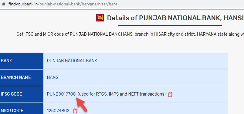 Detail of Punjab National Bank Hansi Branch
