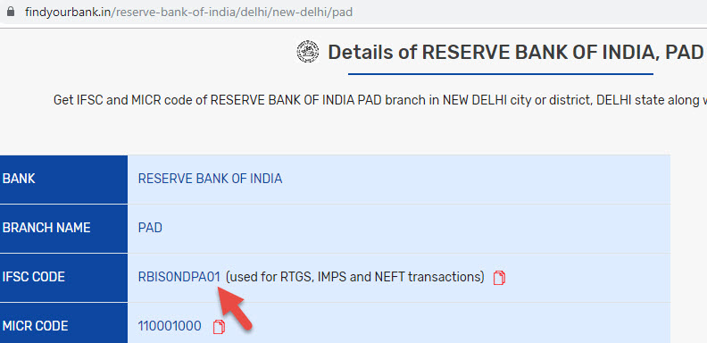 Details of Reserve Bank Of India Pad Branch