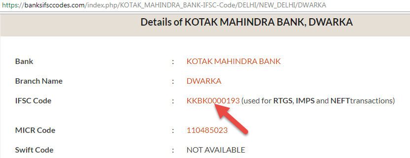 ifsc code of kotak mahindra bank bareilly