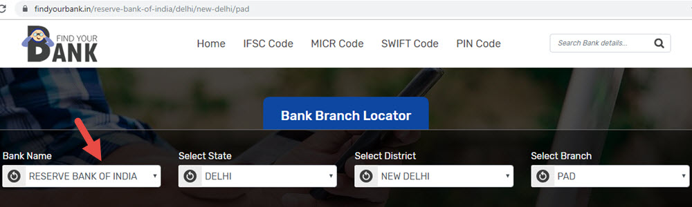 Select Reserve Bank Of India Pad Branch