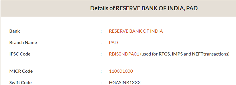 IFSC Code of Reserve Bank of India PAD Branch