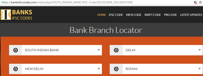 Select South Indian Bank Rohini Branch