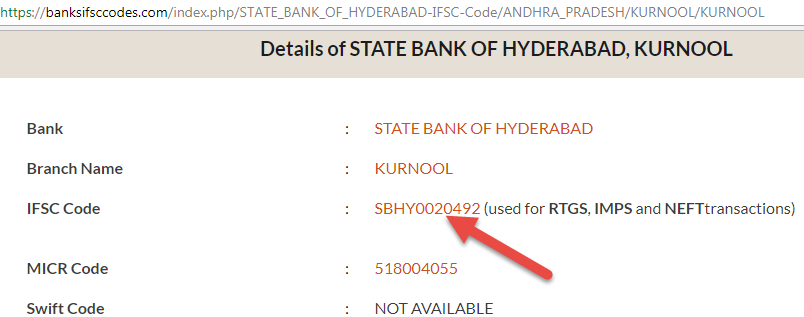 find IFSC Code of State Bank Of Hyderabad Aluru Branch