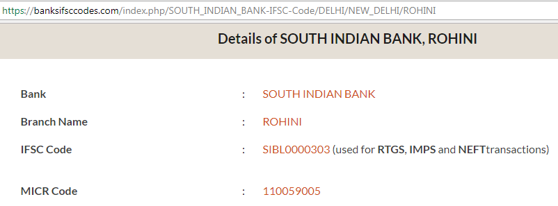 find ifsc code of south indian bank rohini branch