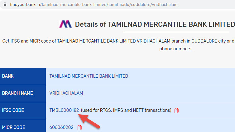 Detail of Tamilnad Mercantile Bank Limited Vridhachalam Branch