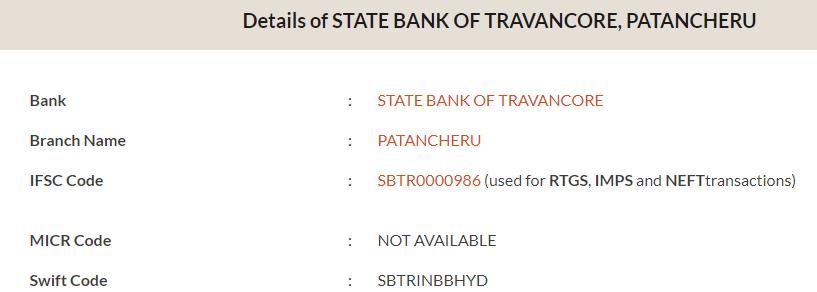 IFSC Code of State Bank of Travancore, Patancheru Branch