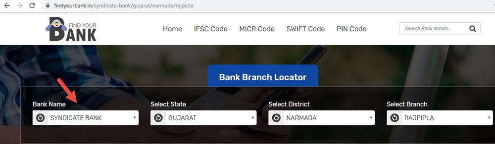 Select Syndicate Bank Rajpipla Branch