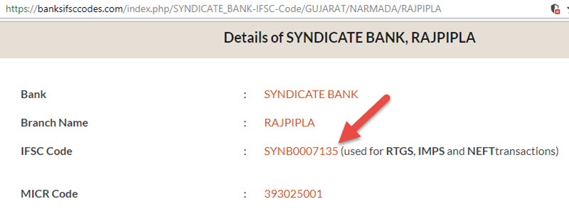 Details of Syndicate Bank Rajpipla Branch