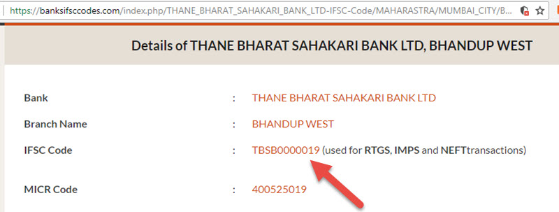 Details of THANE BHARAT SAHAKARI BANK LTD Bhandup West