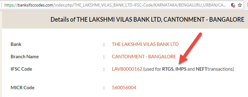 Details of The Lakshmi Vilas Bank Ltd Cantonment - Bangalore Branch