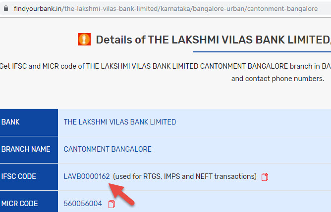 Details of The Lakshmi Villas Bank Limited