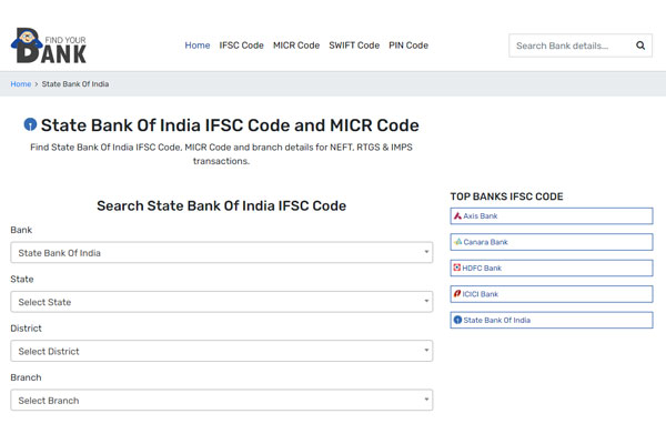 Find Your Bank SBI IFSC Code
