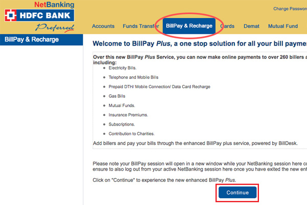 Bill Payments and Recharge using hdfc netbanking