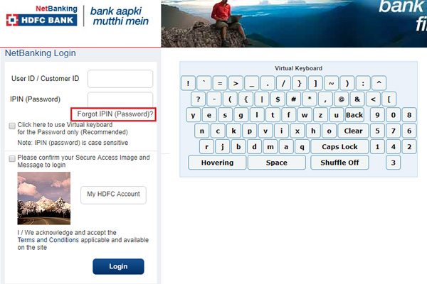 Click on Forgot IPIN password