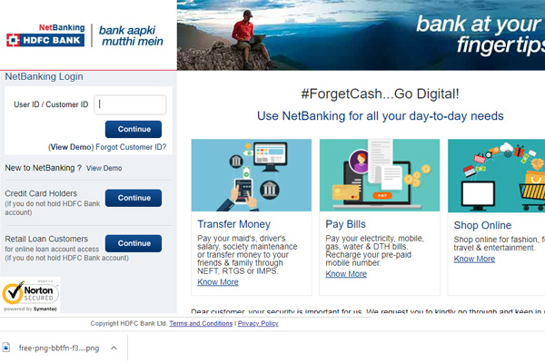 Enter the HDFC customer ID, debit card number, and PIN or TIN