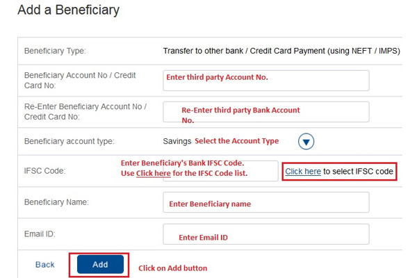 Select transaction type and add beneficiary account number, HDFC bank IFSC code, name, and email id