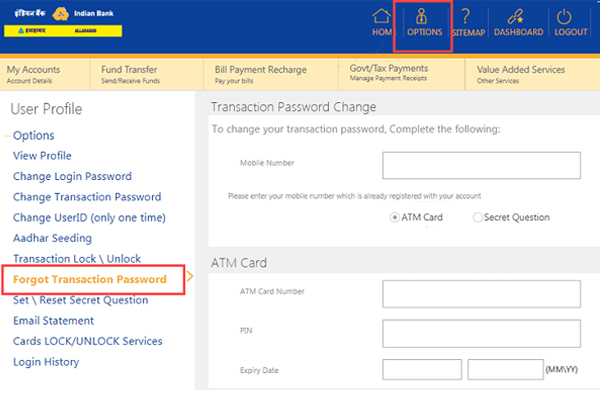 Select Forget Transaction Password