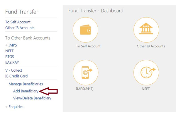 Click on Add beneficiary