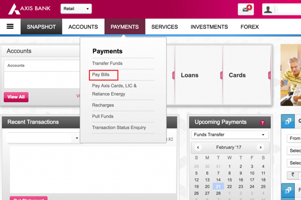 Go to Payment Section Select Pay Bill