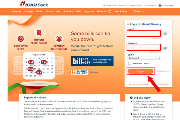 Enter your ICICI user id and password