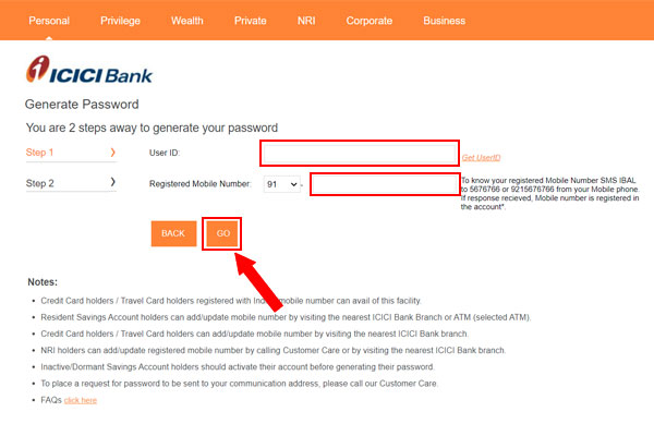 For login id and password, go to the option generate now. After clicking on that, click on go